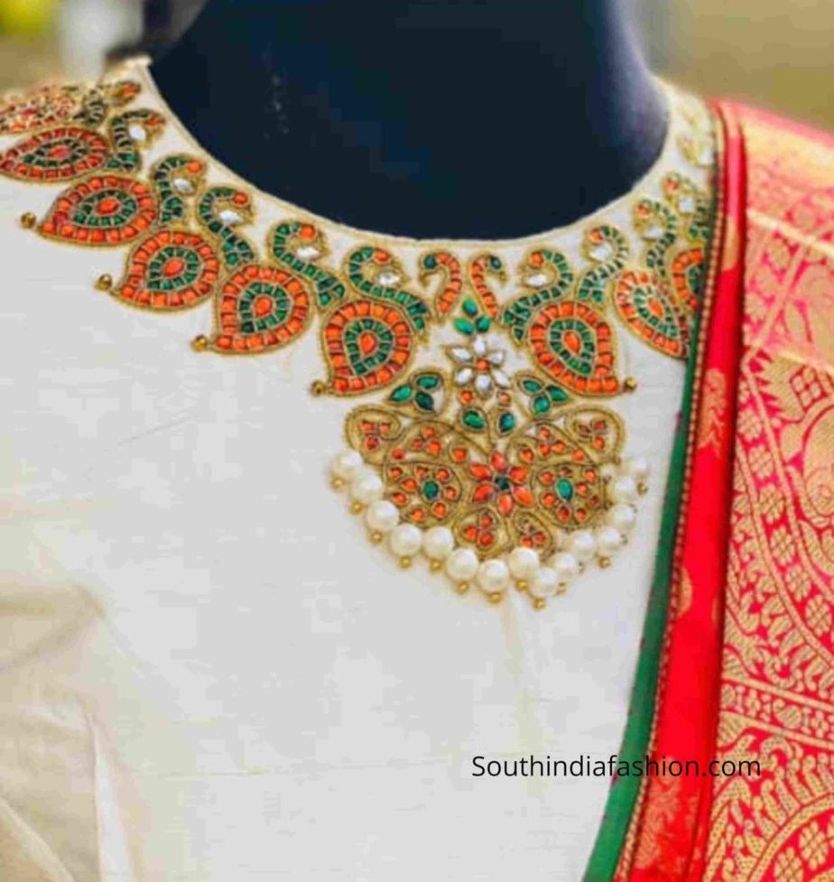 necklace kundan embroidery on pattu saree blouse