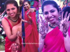 neeraja kona red saree at nithiin mehendi function