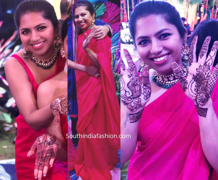 neeraja kona red saree at nithiin mehendi function