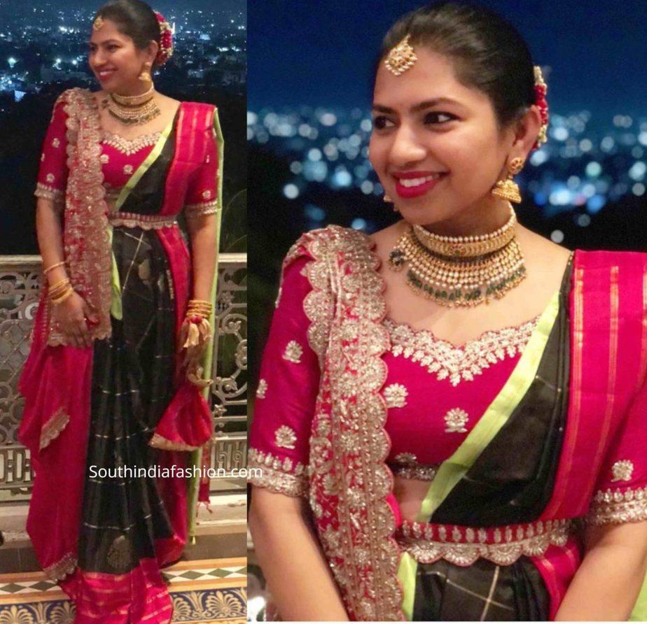 neeraja kona saree in nithin wedding