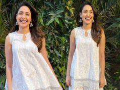 pragya jaiswal white sharara suit