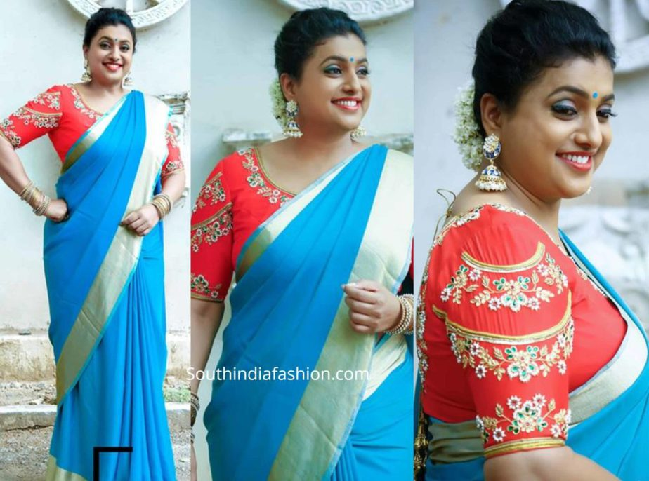 roja blue saree red blouse