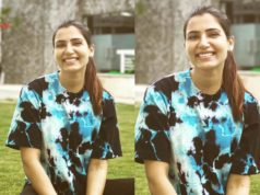 samantha akkineni black and blue tye dye t shirt