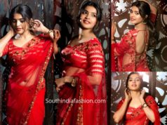 sanchita shetty in red saree