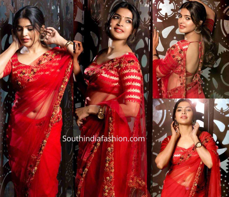 sanchita shetty in red saree