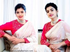 sanchita shetty white saree pink blouse