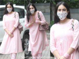 sara ali khan pink kurta set with mask