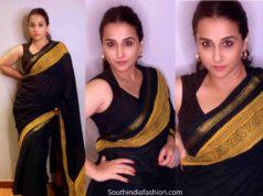 vidya balan black saree shakuntala devi promotions