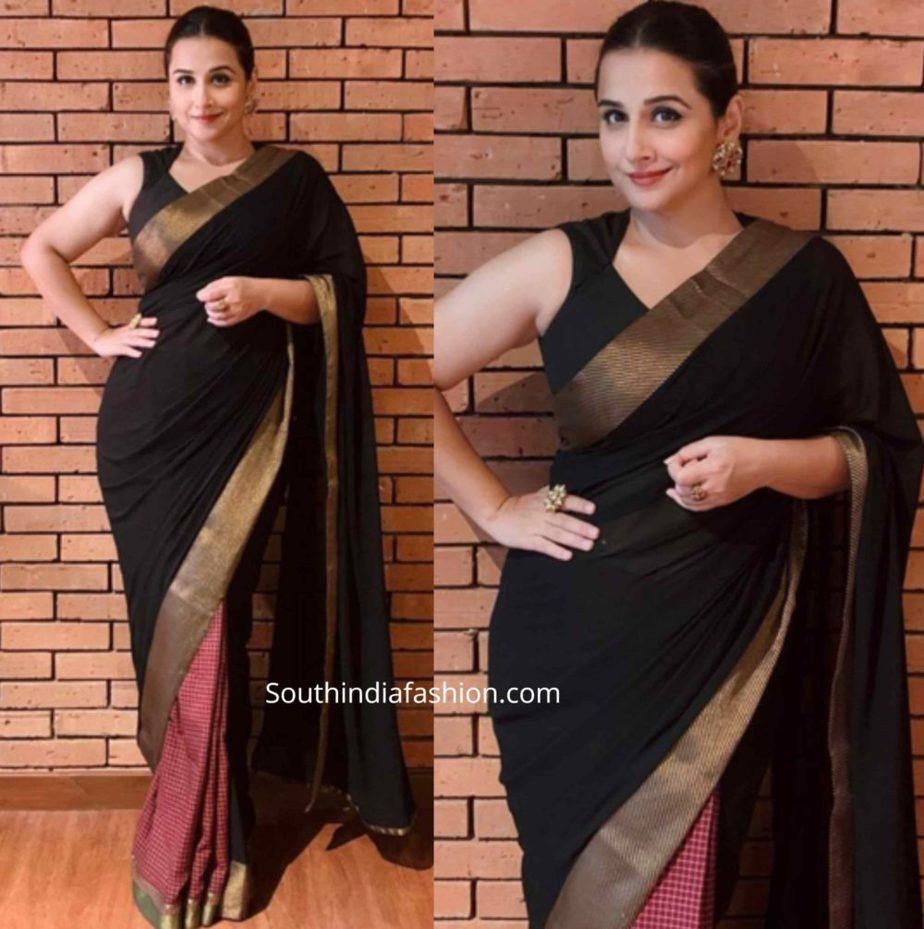 vidya balan black sarees shakuntala devi promotions (1)