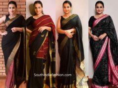 vidya balan black sarees shakuntala devi promotions
