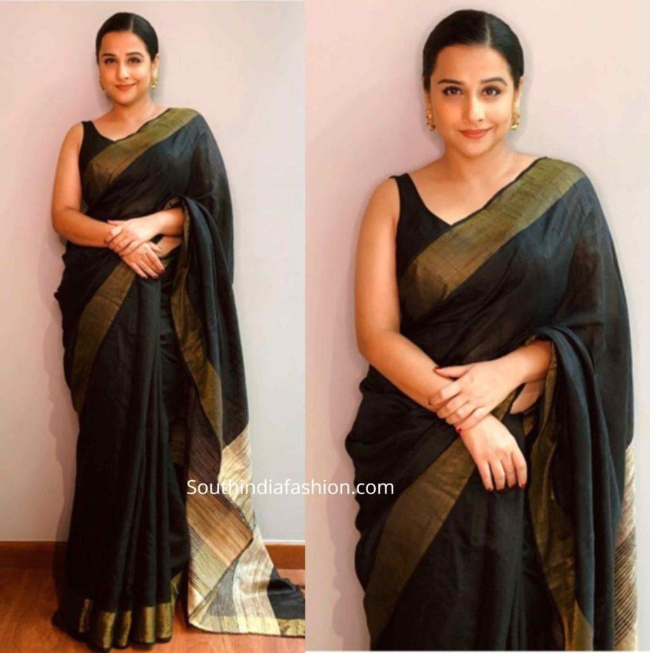 vidya balan black sarees shakuntala devi promotions (3)