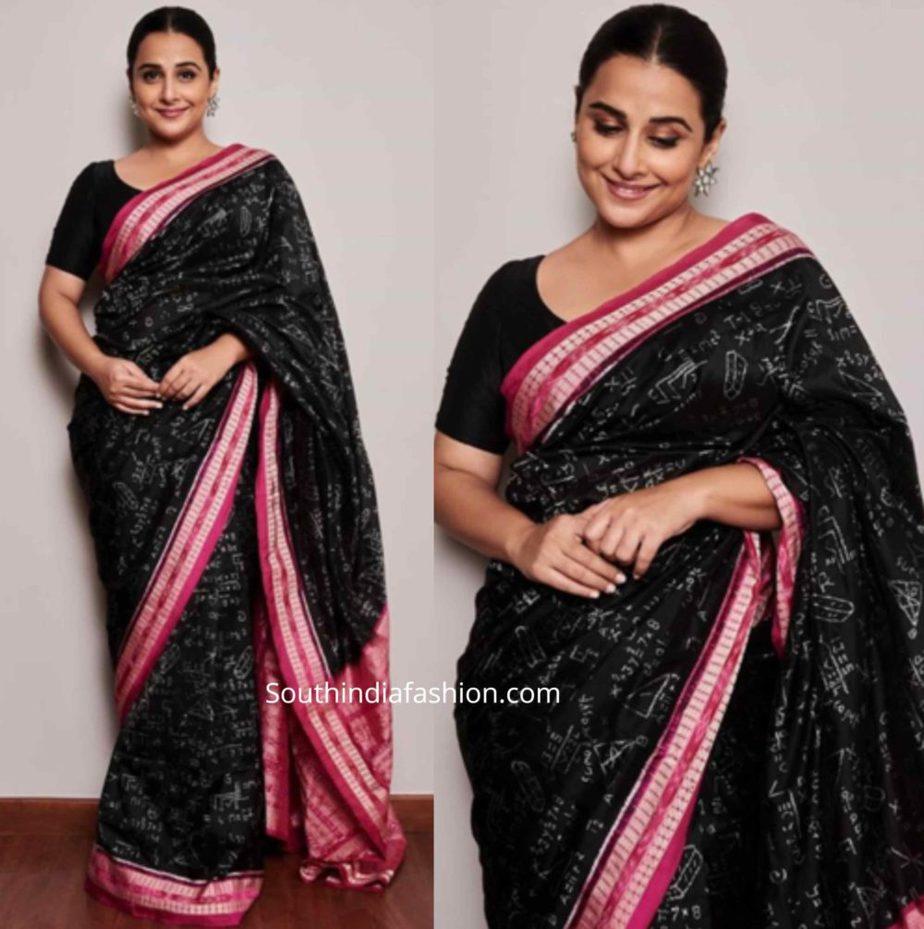 vidya balan black sarees shakuntala devi promotions (4)