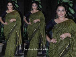vidya balan in black and green striped saree