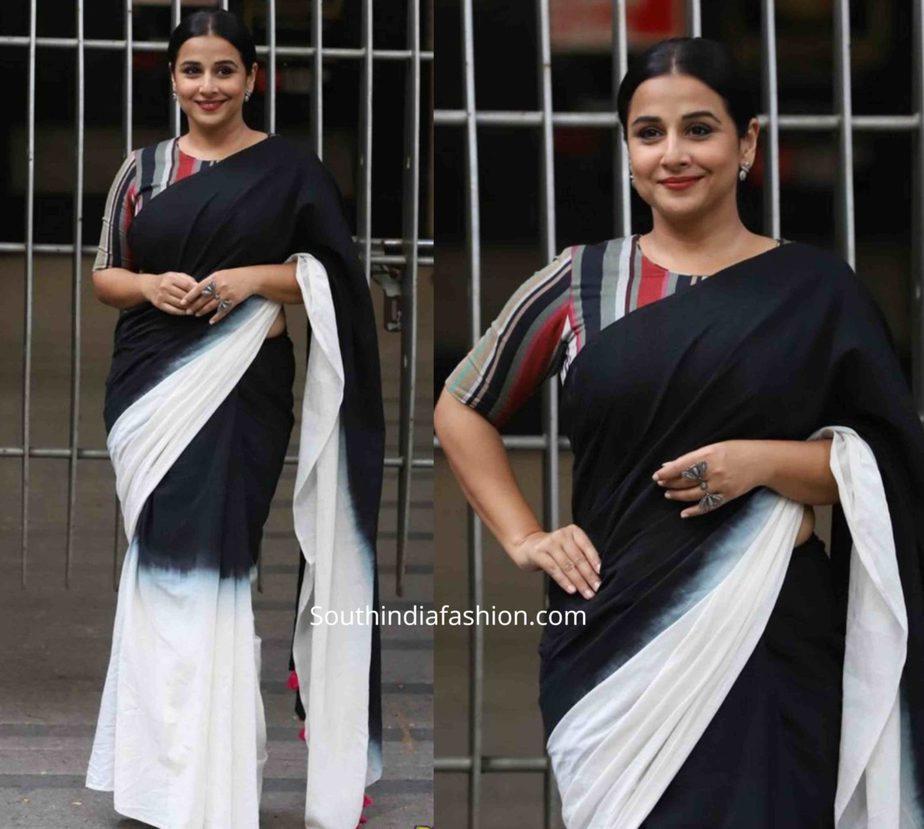vidya balan in black and white mulmul saree