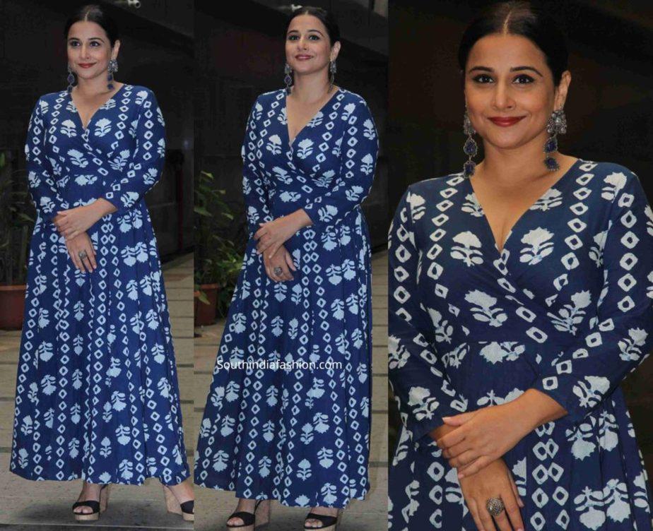 vidya balan in blue printed maxi dresse