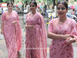 vidya balan in pink mul cotton saree shakuntala devi promotions