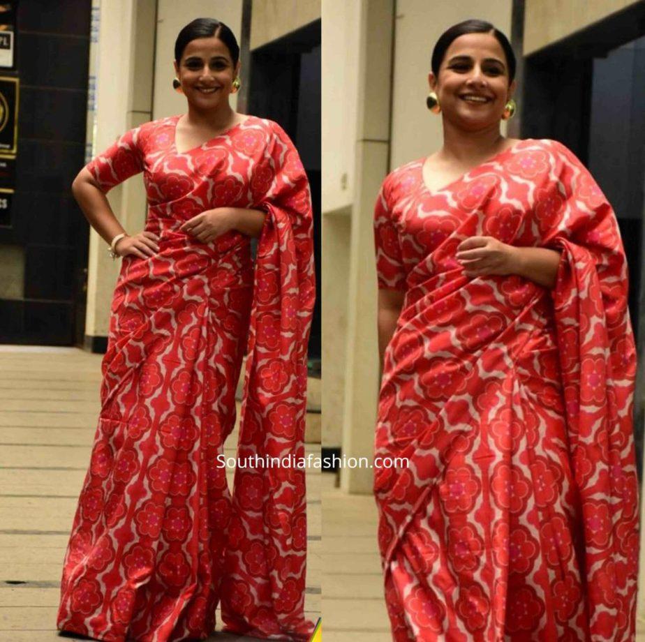 vidya balan in red printed saree