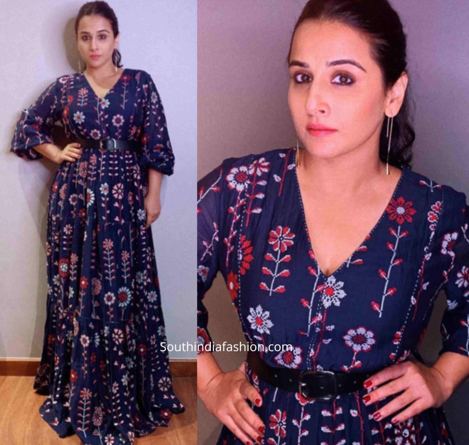 vidya balan navy blue maxi dress