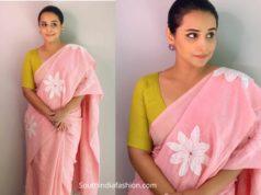vidya balan pink saree shakuntala devi promotions
