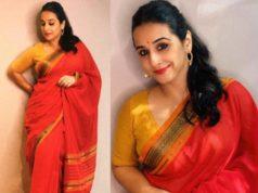 vidya balan red saree