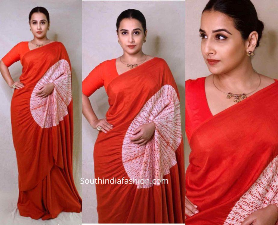 vidya balan red saree shakuntala devi promotions