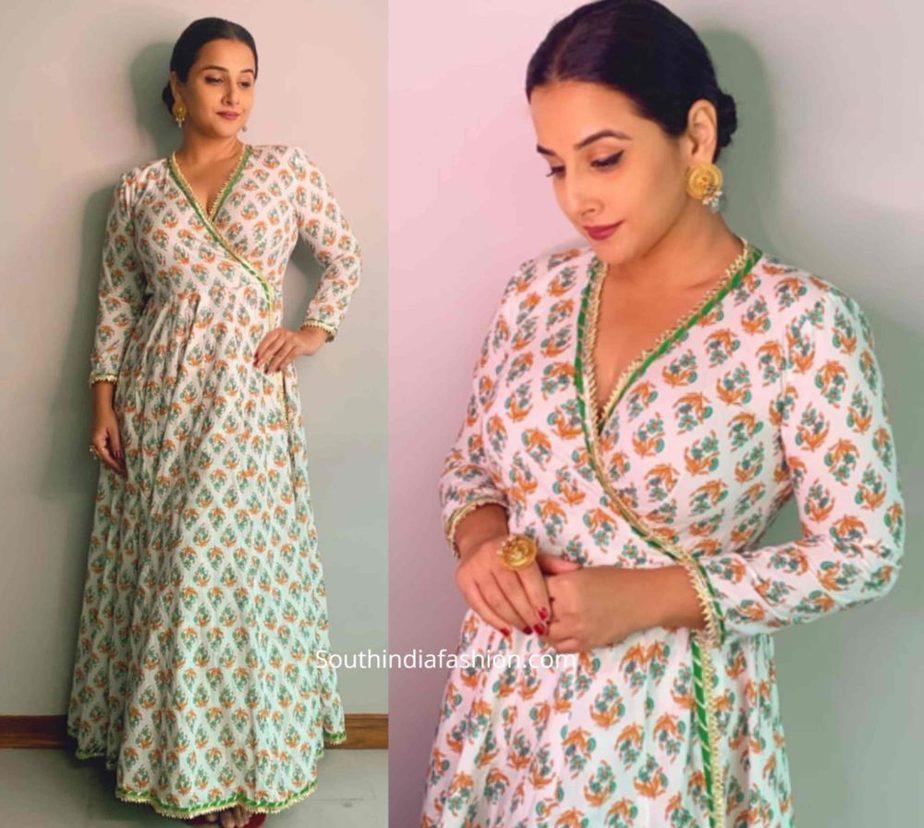 vidya balan white printed angrakha kurta