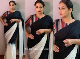 vidya balan in black and white saree shakuntala devi promotions