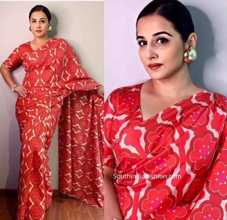 vidya balan in red printed saree shakuntala devi promotions (2)