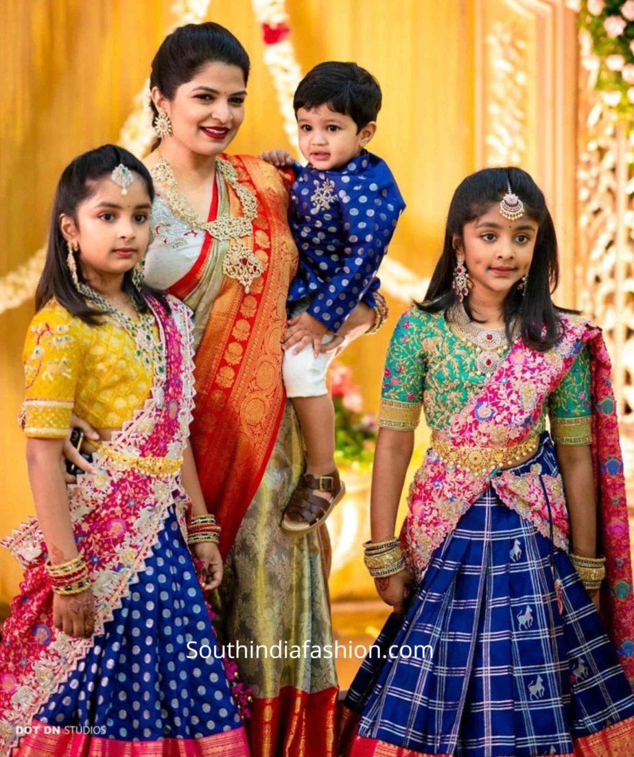 viranica manchu daughters pattu half sarees (1)