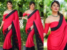 anasuya red saree off shoulder blouse