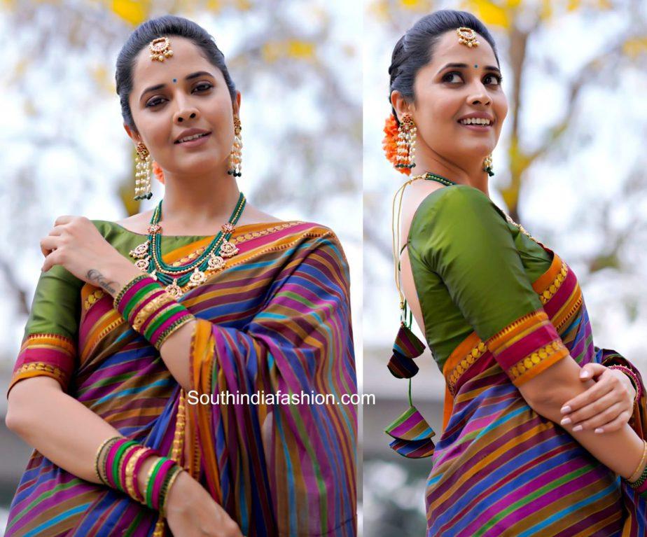 anasuya striped traditional saree (1)
