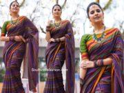 anasuya striped traditional saree