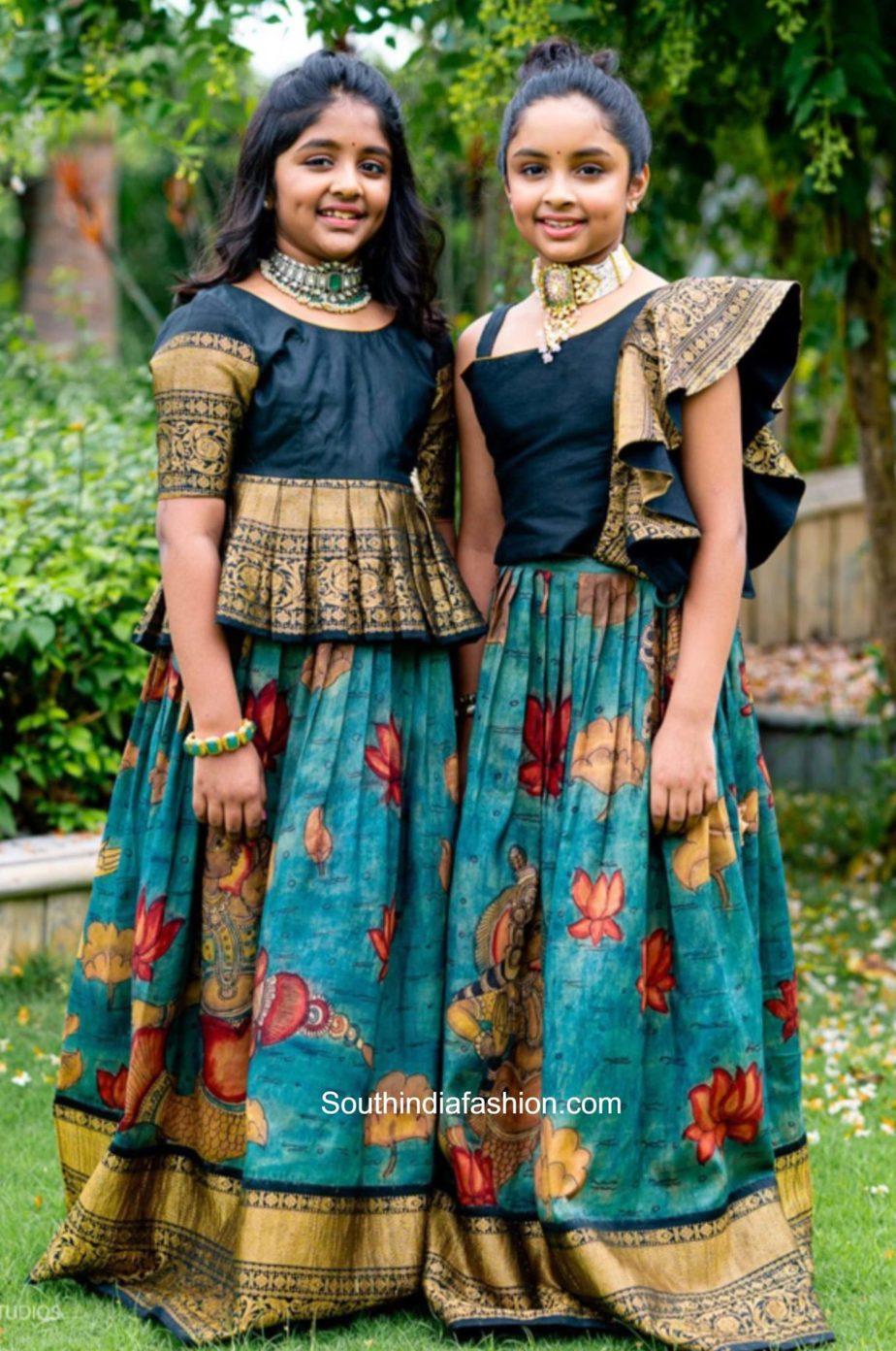 ariaana manchu and viviana manchu in kalmakari lehengas