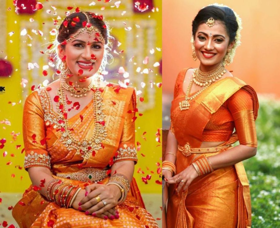 burnt orange wedding sarees