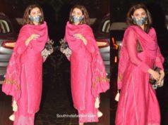 daisy shah ganesh chaturthi pink kurta palazzo set
