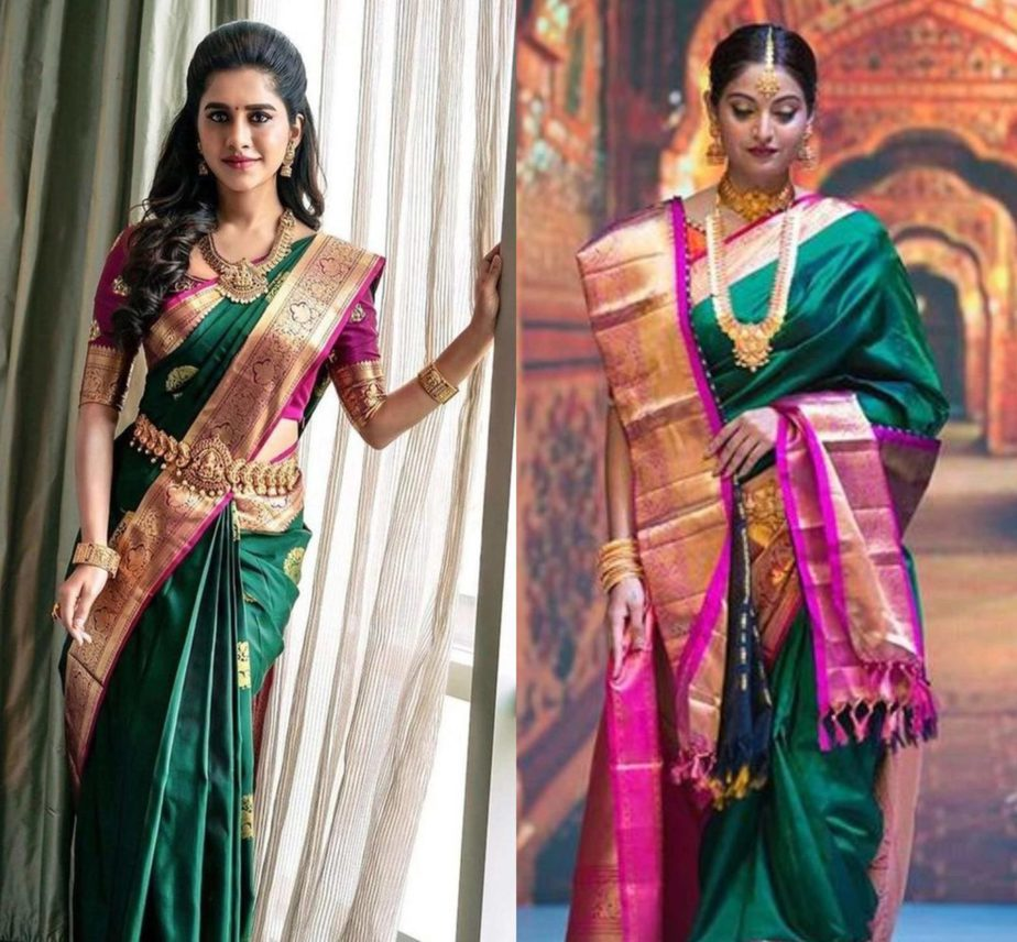 emerald green wedding sarees