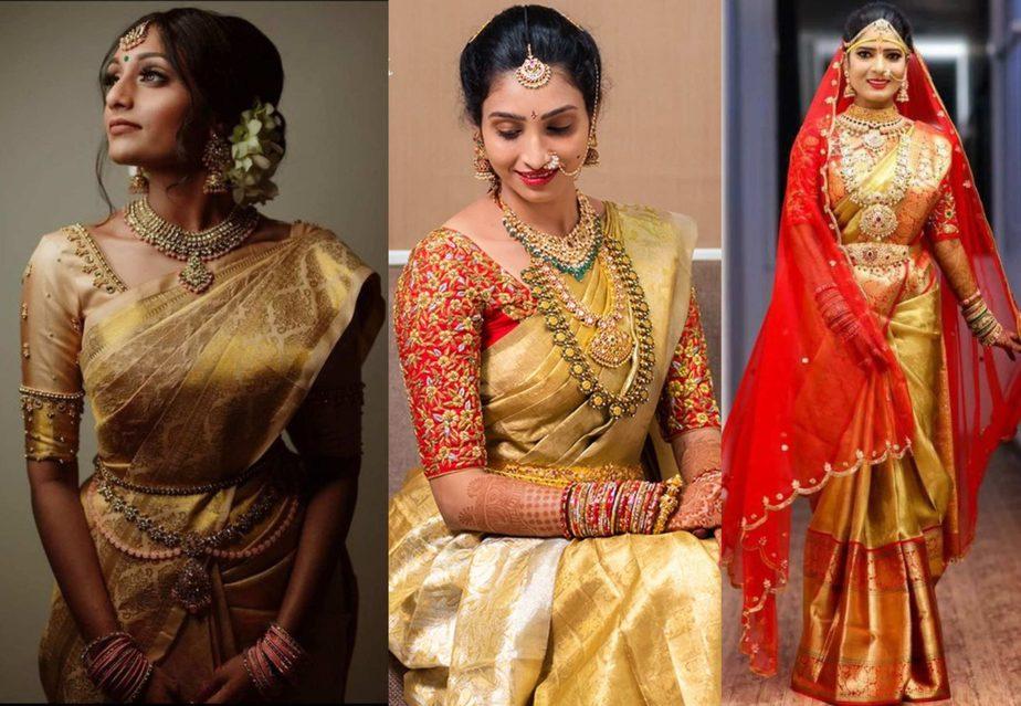 gold color wedding kanjeevaram sarees