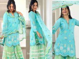 hina khan sharara suit eid (2)