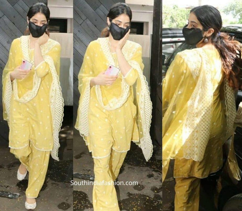 janhvi kapoor in yellow kurta set