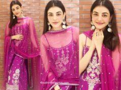 kajal aggarwal purple kurta palazzo set (1)