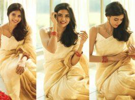 kalyani priyadarshan onam gold saree