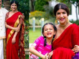 lakshmi manchu red saree ganesh chaturthi