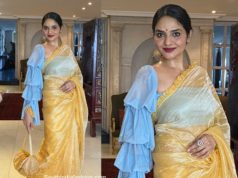 madhoo shah gold saree ruffle blouse