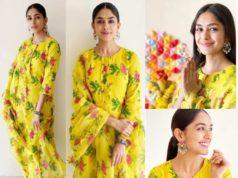 mrunal thakur yellow floral print dress ganesh chaturthi
