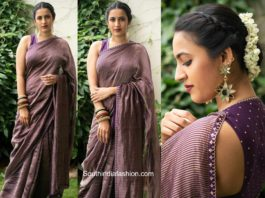 niharika konidela purple saree tv show