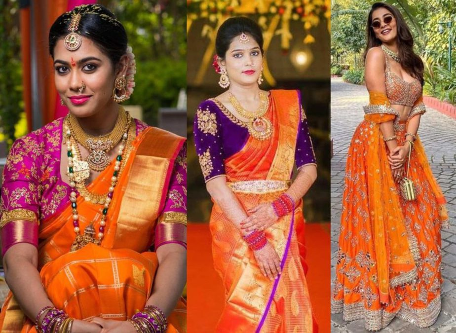 orange wedding outfits south indian brides