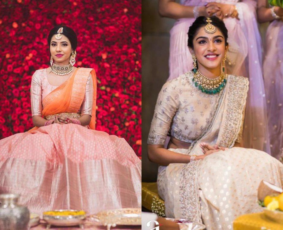 pastel color half sarees