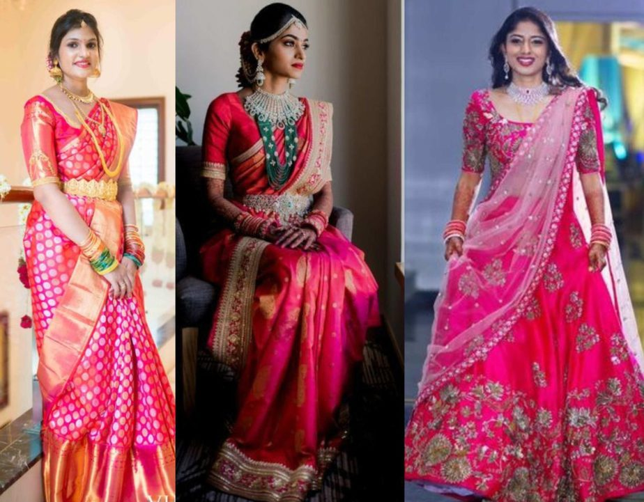pink color wedding sarees
