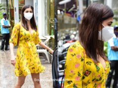 pooja hegde yellow floral dress with mask