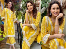 pragya jaiswal yellow kurta set (2)